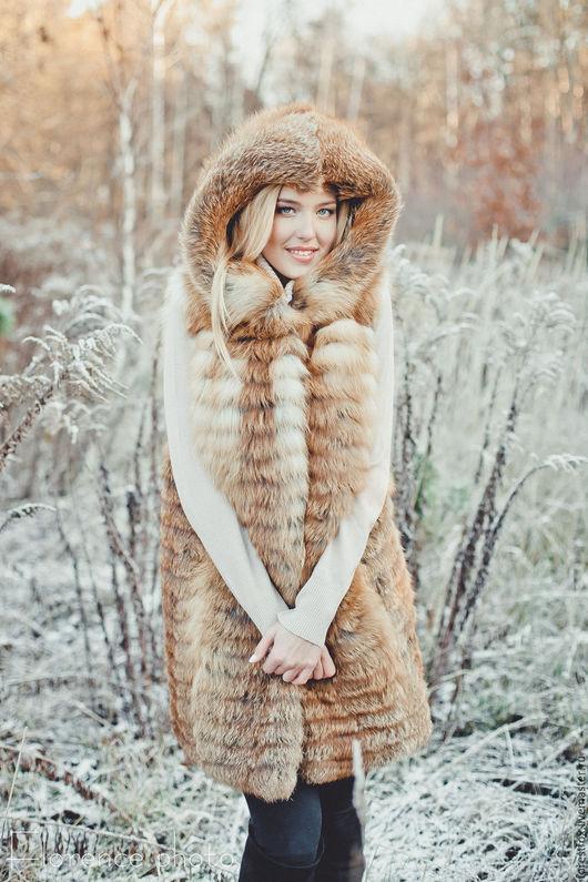 Жилеты ручной работы. Ярмарка Мастеров - ручная работа. Купить Меховой жилет из лисы с капюшоном. Handmade. Рыжий, жилет