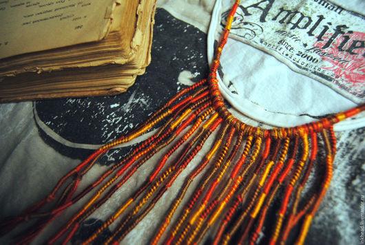"""Колье, бусы ручной работы. Ярмарка Мастеров - ручная работа. Купить Колье плетеное """"Земля"""". Handmade. Коричневый, песок, стихия"""