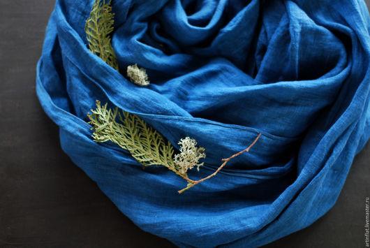 """Шарфы и шарфики ручной работы. Ярмарка Мастеров - ручная работа. Купить Льняной шарф """"Полночь"""" индиго. Handmade. Синий"""
