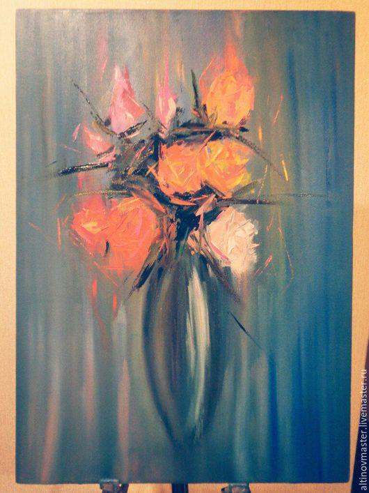 Картины цветов ручной работы. Ярмарка Мастеров - ручная работа. Купить Розы. Handmade. Картина маслом, комбинированный