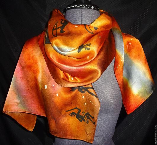 """Шарфы и шарфики ручной работы. Ярмарка Мастеров - ручная работа. Купить Батик шарф """"Охота"""". Handmade. Рисунок, шелковый шарф"""