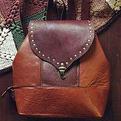 Классическая сумка ручной работы. Ярмарка Мастеров - ручная работа Рюкзак из натуральной кожи в стиле бохо рыжий с заклепками. Handmade.