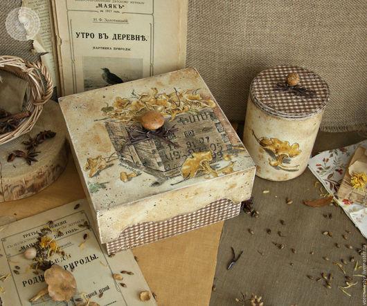 Кухня ручной работы. Ярмарка Мастеров - ручная работа. Купить Набор Лисички. Handmade. Разноцветный, чайная коробка, кантри, краски