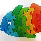 Мягкие игрушки ручной работы. Ярмарка Мастеров - ручная работа Рыбка Деревянные паззл. Handmade.
