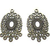 Материалы для творчества handmade. Livemaster - original item Connector Oval openwork bronze, accessories for jewelry. Handmade.