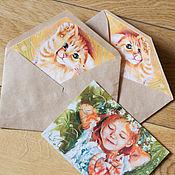 Открытки ручной работы. Ярмарка Мастеров - ручная работа Конверт и три открытки на выбор. Handmade.