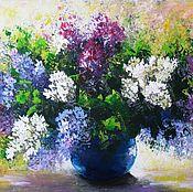 Картины и панно handmade. Livemaster - original item Lilac Original acrylic painting on canvas flowers wall decoration. Handmade.