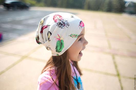 """Шапки и шарфы ручной работы. Ярмарка Мастеров - ручная работа. Купить Шапочка для девочки """"Чудо в перьях"""". Handmade. Комбинированный, лайкра"""