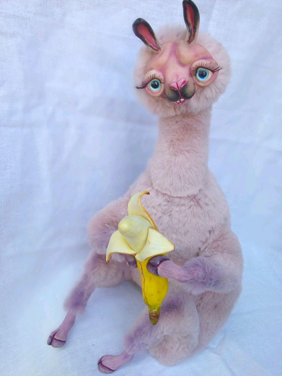 """ЛАМА и банан"" интерьерная, коллекционная кукла игрушка, Интерьерная кукла, Каменск-Шахтинский,  Фото №1"