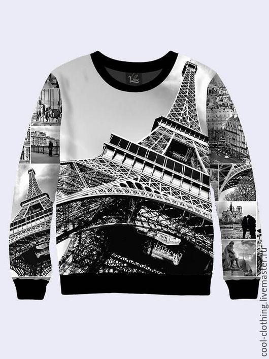 """Кофты и свитера ручной работы. Ярмарка Мастеров - ручная работа. Купить Черно-белый свитшот """"Париж"""". Handmade. Разноцветный"""