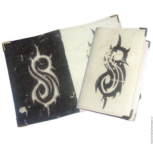 """Обложки ручной работы. Ярмарка Мастеров - ручная работа. Купить Обложка на паспорт, обложка для документов (кожа) """"Slipknot"""". Handmade."""