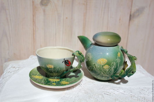Сервизы, чайные пары ручной работы. Ярмарка Мастеров - ручная работа. Купить Чайник и пара Одуванчики. Handmade. Зеленый, лето