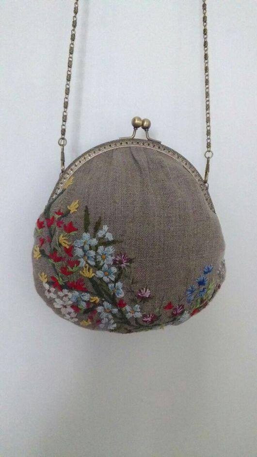 Женские сумки ручной работы. Ярмарка Мастеров - ручная работа. Купить Сумка-кошелек из льна с вышивкой. Handmade. Сумка