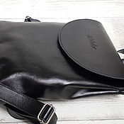 handmade. Livemaster - original item Leather backpack with a rounded lid. Black urban backpack. Handmade.