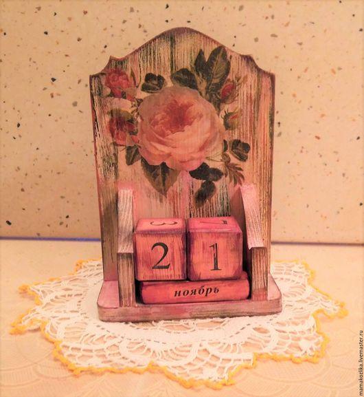 """Календари ручной работы. Ярмарка Мастеров - ручная работа. Купить Вечный календарь """"Розы"""".. Handmade. Коралловый, вечный календарь"""