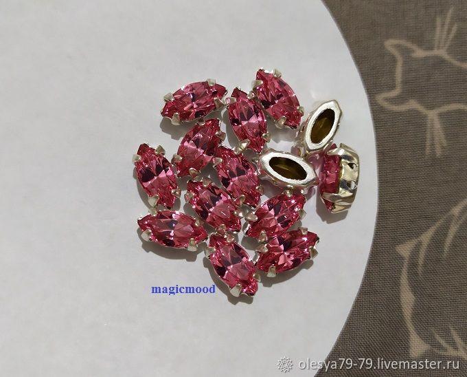 1pc Czech rhinestone Rose 10h5mm Navette Czech crystals in DACs, Rhinestones, Chelyabinsk,  Фото №1