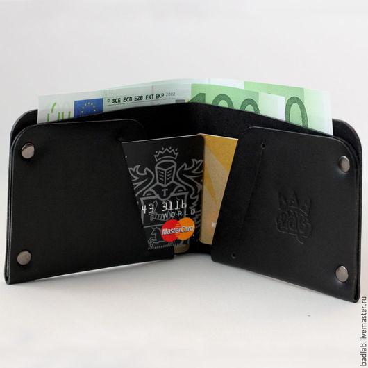 Кошельки и визитницы ручной работы. Ярмарка Мастеров - ручная работа. Купить Кожаный кошелек с отделением для карт Optima black. Handmade.