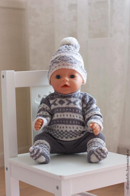 Одежда для кукол ручной работы. Ярмарка Мастеров - ручная работа. Купить Вязанная одежда для кукол. Handmade. Серый, одежда на заказ