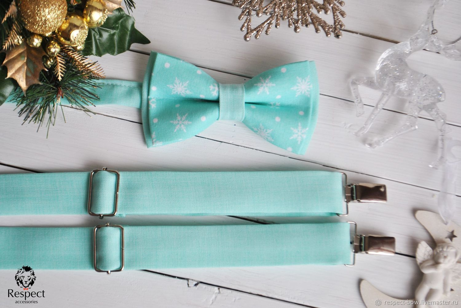 Mint bow tie for the New year complete with men's suspenders for pants mint color to buy in Moscow with delivery to any city of Russia and the world. A great gift for a friend or boyfriend for the New