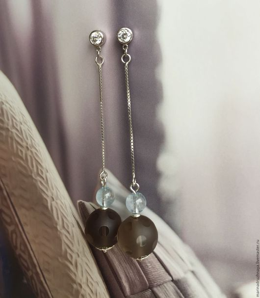 """Серьги ручной работы. Ярмарка Мастеров - ручная работа. Купить """"Aquarelle"""" Серебряные серьги. Handmade. Комбинированный, длинные серебряные серьги"""