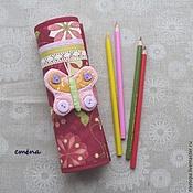 "Канцелярские товары ручной работы. Ярмарка Мастеров - ручная работа Пенал-карандашница ""Малиновый звон"", 24+1 карандаша. Handmade."