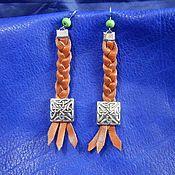 Украшения handmade. Livemaster - original item Earrings made of leather with braided Celtic knot. Handmade.