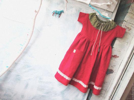 Одежда для девочек, ручной работы. Ярмарка Мастеров - ручная работа. Купить фемили-лук дабл-красное. Handmade. Ярко-красный