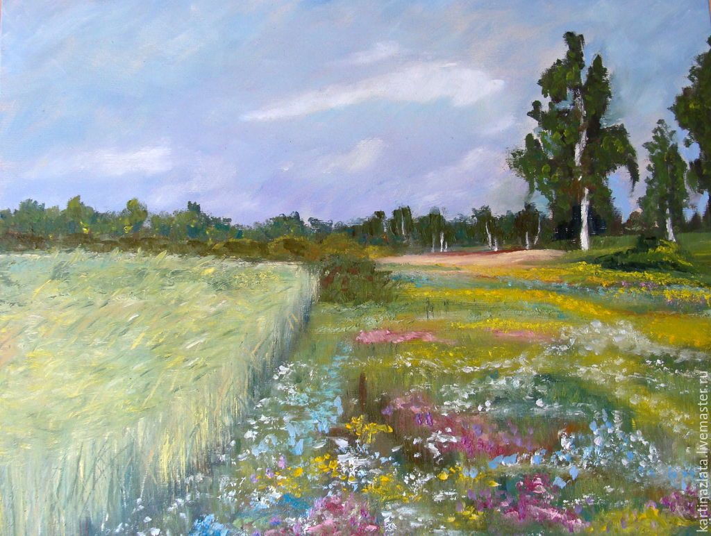 Based on the paintings of Levitan `Summer`, oil on canvas on stretcher, oil, 40h50