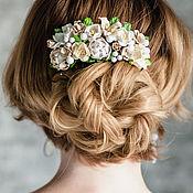 Свадебный салон ручной работы. Ярмарка Мастеров - ручная работа Молочный гребень для волос, украшение для волос, белые цветы. Handmade.