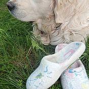"""Обувь ручной работы. Ярмарка Мастеров - ручная работа Валяные тапочки с собачьей шерстью """"Оди"""". Handmade."""