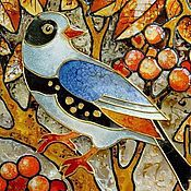"""Картины и панно ручной работы. Ярмарка Мастеров - ручная работа Эмаль """"Рябиновая птица"""". Handmade."""