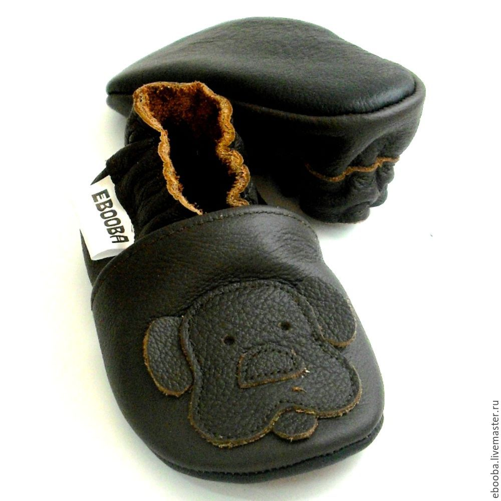 soft sole baby shoes leather handmade infant doggie dark
