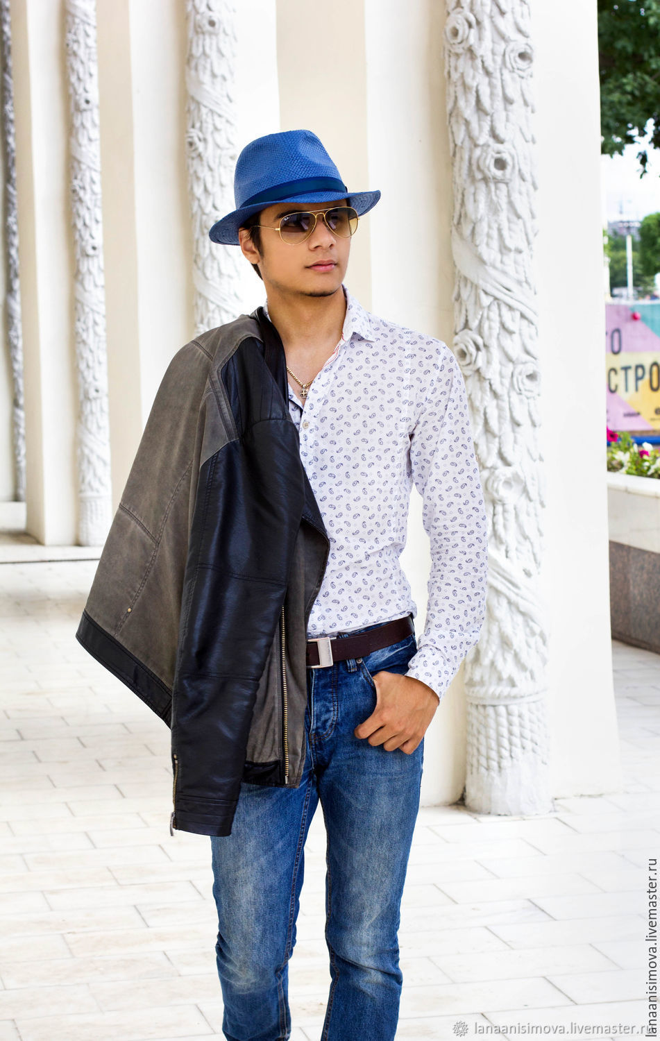 Straw hat Fedora Unisex. Color blue, Hats1, Moscow,  Фото №1