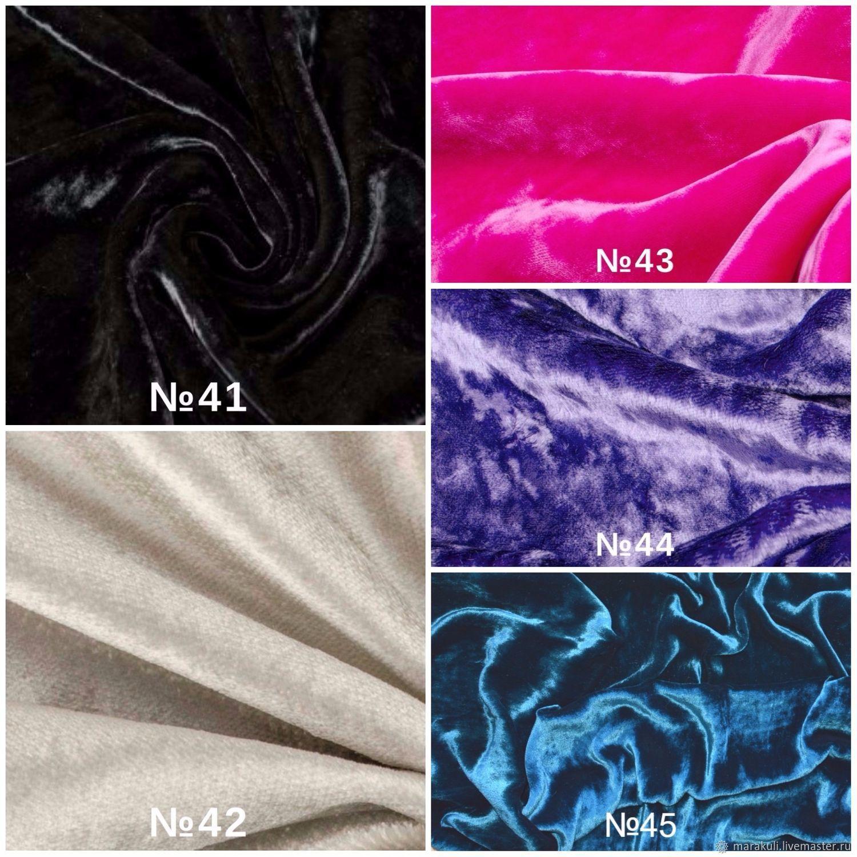 Кусочки бархата. Производство Италия. Состав ткани - № 41,42,43,44 -100%VI.  №45-100% SE. Средний кусочек -25 см. на 60 см.- 5  $ за 1 шт. Маленький кусочек 25 cм на 30 cм.- 2,5  $ за 1 шт