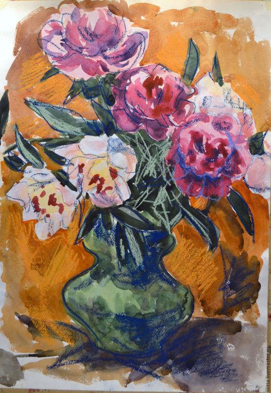 Картины цветов ручной работы. Ярмарка Мастеров - ручная работа. Купить Пионы акварель. Handmade. Пионы, цветы, акварель, букет