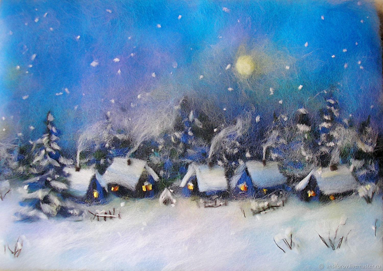 Картина из шерсти Зимняя сказка, Картины, Энгельс,  Фото №1