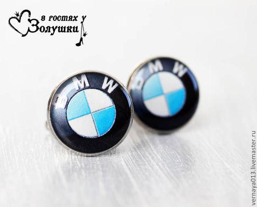 """Запонки ручной работы. Ярмарка Мастеров - ручная работа. Купить Запонки """"BMW"""". Handmade. Черный, круглые запонки, подарок для мужчины"""