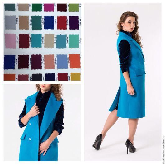 Верхняя одежда ручной работы. Ярмарка Мастеров - ручная работа. Купить Жилет из кашемира Blue. Handmade. Голубой, пальто, кашемир