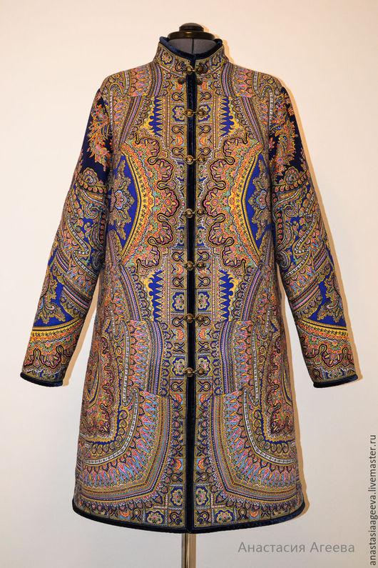 """Верхняя одежда ручной работы. Ярмарка Мастеров - ручная работа. Купить Пальто из платка """"Волшебный узор - 14"""" со съемным капюшоном.. Handmade."""