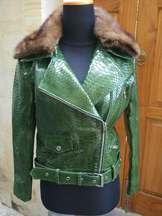 Верхняя одежда ручной работы. Ярмарка Мастеров - ручная работа. Купить Куртка из кожи питона с норковым воротником. Handmade.