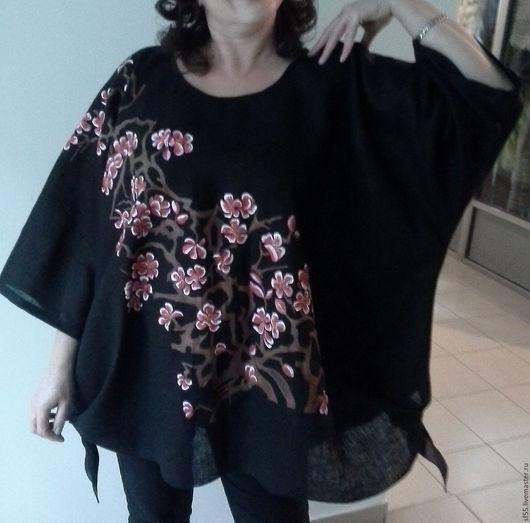 """Большие размеры ручной работы. Ярмарка Мастеров - ручная работа. Купить Туника, блузка  """"Сакура"""" из льна большой размер. Handmade. Черный"""
