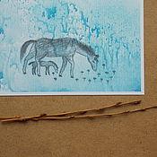 Открытки ручной работы. Ярмарка Мастеров - ручная работа голубой луг. Handmade.