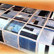 Для дома и интерьера ручной работы. Ярмарка Мастеров - ручная работа Джинсовое покрывало с серым. Handmade.