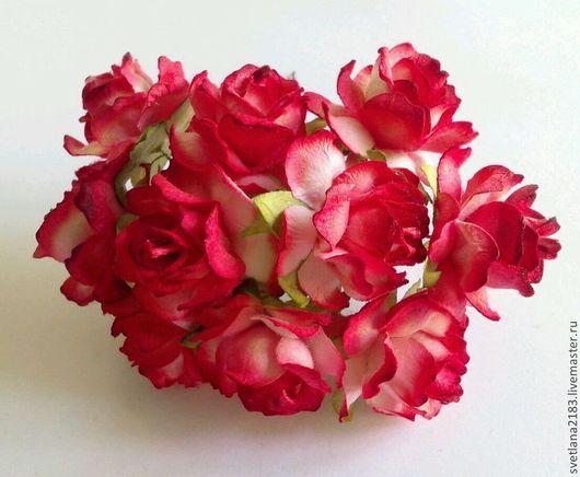 Открытки и скрапбукинг ручной работы. Ярмарка Мастеров - ручная работа. Купить Розы 3 см красно-белые 5 шт. Handmade.
