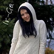 Одежда ручной работы. Ярмарка Мастеров - ручная работа Белый свитер с капюшоном. Handmade.