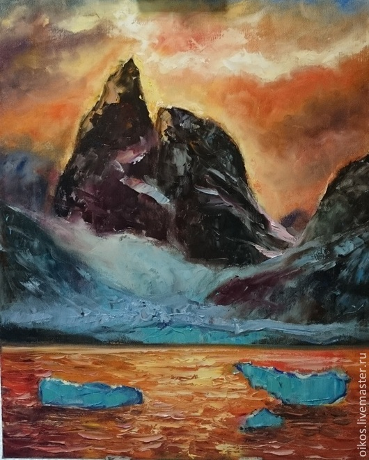 Пейзаж ручной работы. Ярмарка Мастеров - ручная работа. Купить Картина маслом мистические горы. Handmade. Картина гор, оранжевый