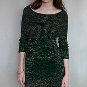 """Одежда handmade. Livemaster - original item Зеленое платье вязаное с люрексом """"Золотое сияние"""". Handmade."""
