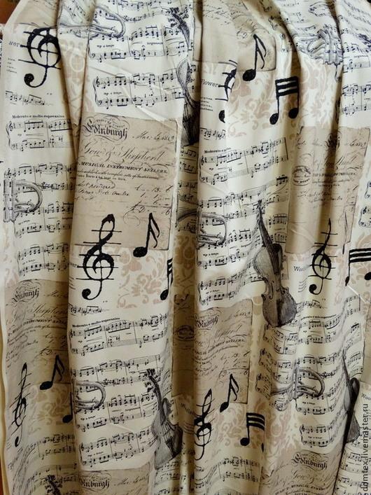 Ткань портьерная. Материалы для творчества. Ноты. скрипка. Музыка. Шторы в детскую. Шторы на заказ.