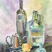 Картины и панно handmade. Livemaster - original item Watercolor. Painting watercolor. Still life with bottles and pepper.. Handmade.