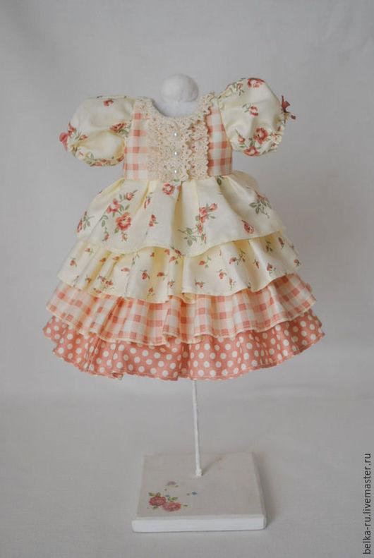 Одежда для кукол ручной работы. Ярмарка Мастеров - ручная работа. Купить Платье для куклы. Handmade. Бежевый, платье для куклы